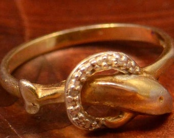 Dolphin Ring sz 7.5 Sterling, Gold Plated