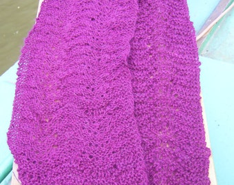 Hand knitted Lacy scarf in purple 100% alpaca