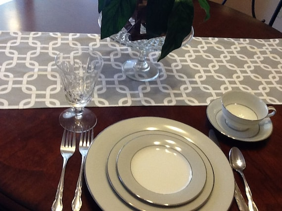 Table Runner - Grey and White Chain Chevron Table Runners - Chain Table Runners For Weddings or Home Decor - Select A Size