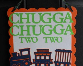Train Door Sign,  Train Welcome Sign, Train Birthday, Chugga Chugga, Navy Orange Lime