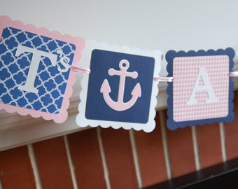 Nautical Its A Girl Banner, Sailboat, Anchors, Nautical Baby Shower, Girl Baby Shower, Pink, Navy