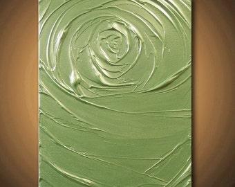 40%off SALE Painting Green Chartreuse Gold Peridot Abstract Acrylic Vortex of Creation 14x11 High Quality Original Sculpture Modern Fine Art