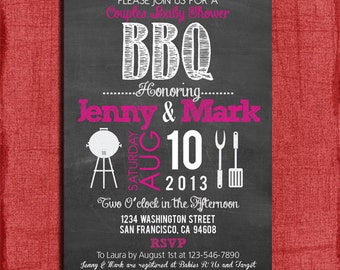 Printable BBQ Baby Shower Chalkboard Style 4x6 or 5x7 Invitation-DIY