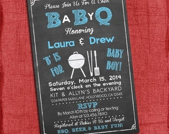 Baby Boy Q Baby Shower Invitation - Barbecue baby shower - Coed Baby Shower Invite