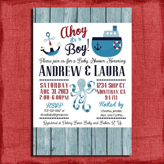 nautical baby shower invitation - ahoy it's a boy invitation, Baby shower invitations