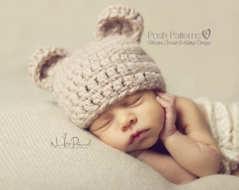 Crochet PATTERN - Crochet Bear Hat Pattern - Baby Bear Hat - Crochet Hat Pattern - Baby, Toddler, Kids, Adult Sizes - Photo Prop - PDF 214