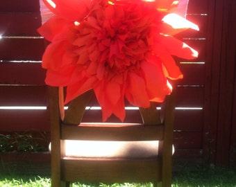 Rental Reception chair bow flower cover orange
