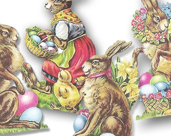 Digital Easter Rabbits Instant Digital Download  Eggs PNG Transparent Backgrount Scrapbook Clip art scrapbook supplies, Vintage Rabbits Tags