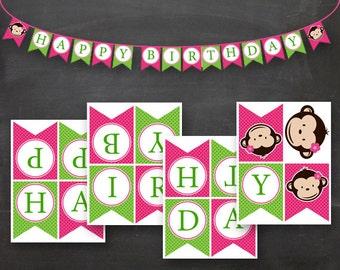 Mod Monkey Little Girl Birthday Flag Banner Pink Green Printable DIY .PDF
