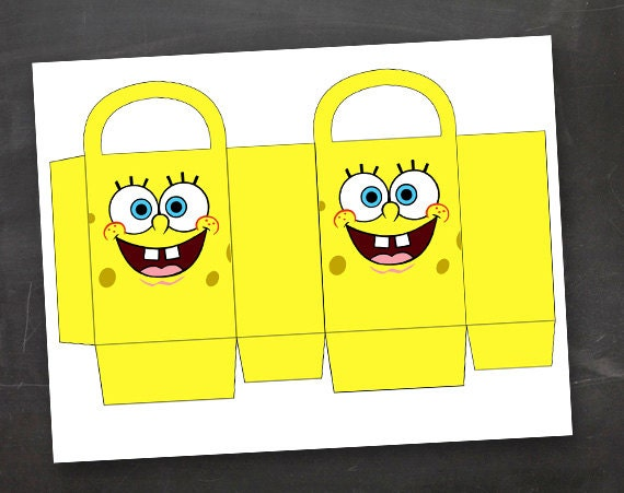 Spongebob Birthday Party Goodie Box Bag by jennamiedesigns ...