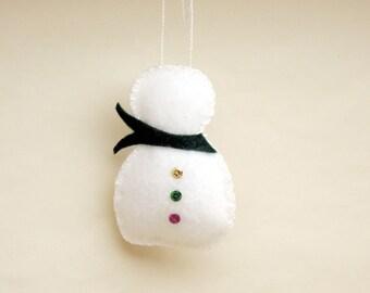 Felt Snowman Ornament, Red Scarf or Green Scarf