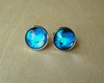 20% OFF -- Galaxy Bright Blue / Midnight Blue color Stud Earrings/Great for Party,beautiful gift for her