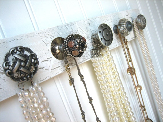 Hanging Wall Display Jewelry Rack with Shades of Gray