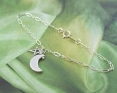 Crescent Moon Anklet, Moon and Star Anklet, sterling silver, rhodium, minimal, plus size bracelet, simple, matte, summer, astrology