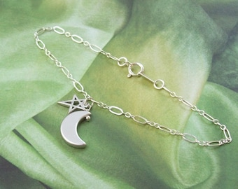 Crescent Moon Anklet, Moon and Star Anklet, sterling silver, rhodium, minimal, plus size bracelet, simple, matte, summer, astrology