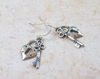 Heart Lock and Key Earrings, Dangle Earrings, Silver Earrings, sterling silver, fall fashion, love, 925