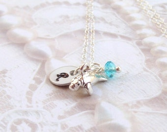 Sterling Silver Baby Manatee Necklace, Tropical Necklace, Nautical Necklace, Personalized, Beach Jewery, sea life, aquatic, sea cow, ocean