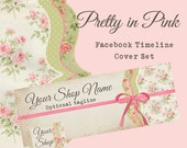 """Facebook Timeline Cover Set Vintage Shabby Style """"Pretty in Pink"""" - Pre-made Pink and Green Design - 5 Piece Set"""