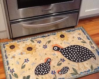 Guinea sunflower floorcloth 2x3 rug