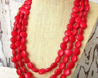 Red Turquoise Necklace.Triple Strand Red Beaded Necklace. Red Multi Strand Necklace. Red Jewelry. Red Necklace. Red Bridesmaid Jewelry