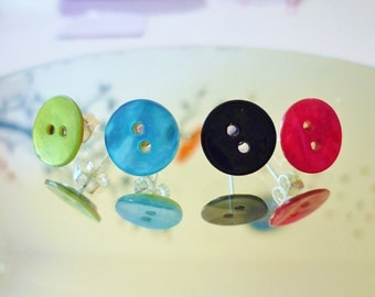 shell button stud earrings - various colours green, blue, black and fushcia