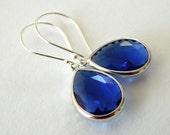 Sapphire Blue Earrings, Cobalt Blue Earrings, Wedding Jewelry, Sterling Silver Royal Blue Dangle Earrings