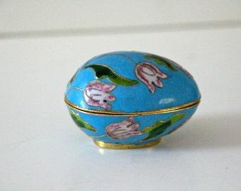 Vintage Floral Cloisonne Egg-Shaped Trinket Box
