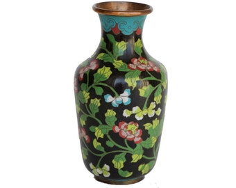 Vintage Medium Sized Black Cloisonne Vase
