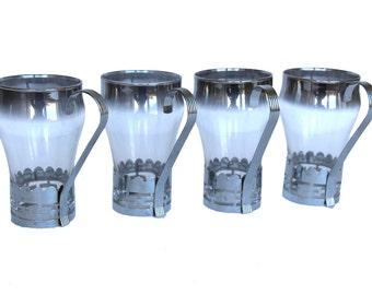 Vintage Set of 4 Silver Encased Ombre Drinking Glasses