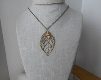 Brass Leaf Necklace with tiny Gold Leaves, Autumn Necklace, Mixed Metal, Brass and Gold Necklace