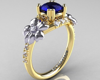 Nature Inspired 14K Yellow Two-Tone White Gold 1.0 Ct Blue Sapphire Diamond Leaf and Vine Engagement Ring R245-14KYTTWGDBS