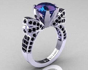 French 14K White Gold 3.0 CT Russian Alexandrite Black Diamond Engagement Ring, Wedding Ring R382-14KWGBDAL