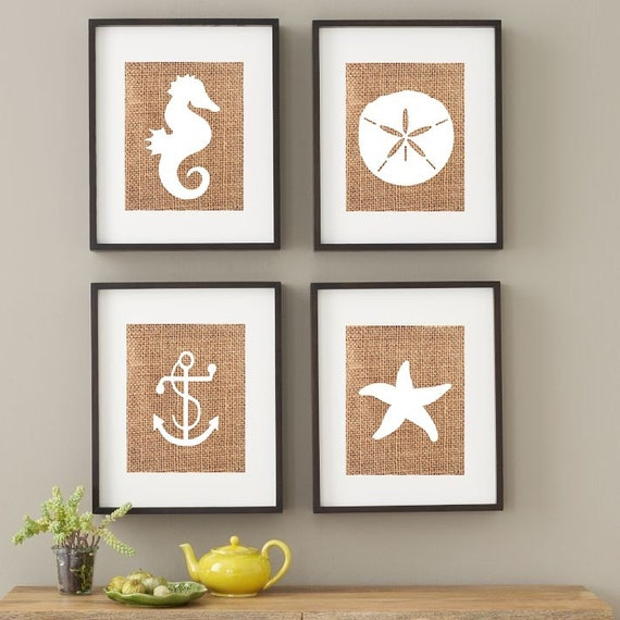 Beach house print nautical nursery print starfish sand for Coastal wall decor ideas