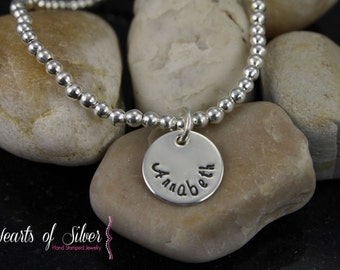 Baby Bracelet- Sterling Silver Beaded Bracelet- Handstamped Jewelry