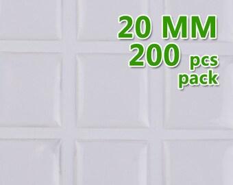 200pcs 20mm Square Clear Epoxy Stickers,epoxy resin,epoxy Domes C1906