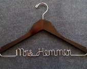 Wedding Dress Hanger - Bridal Hanger - Personalized Wire Name Hanger - Mrs Hanger - Bridesmaid Hanger - Shower Gift - Groom Hanger