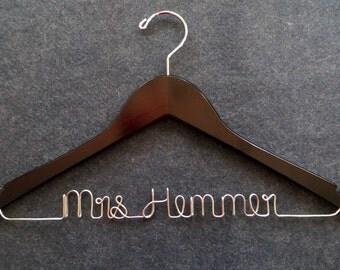 Wedding Dress Hanger - Bridal Hanger - Personalized Wire Name Hanger - Mrs Hanger - Bridesmaid Hanger - Shower Gift - Groom Hanger