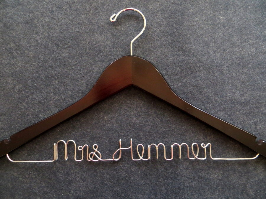 Wedding dress hanger bridal hanger personalized wire name for Wedding dress hangers personalized