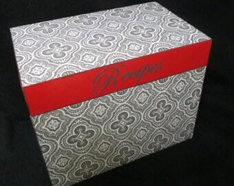Recipe Box - Gray, White, and Red Wooden Recipe Box - Personalized Box - Trinket Box - Shower Gift