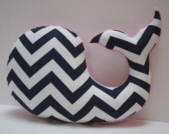 Nautical nursery decor, pink navy baby, chevron whale pillow, girls shower gift, handmade
