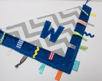 Personalized Chevron baby blanket - Cobalt royal electric blue - lovey travel minky shower gift nursery monogram intial elephant