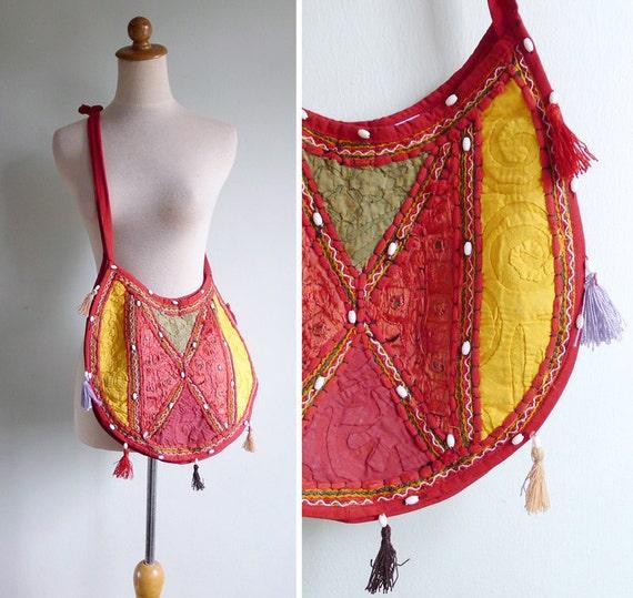 Vintage 80's Mirror & Tassels Orange Hippie Embroidered Sling Bag