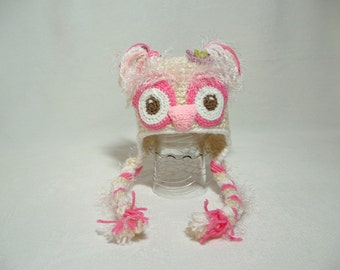 Soft Gentle Pink Owl Hat with Flower Adorable Gift for Baby Shower