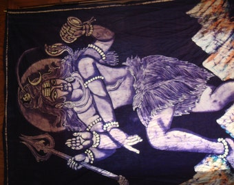 Huge Hindu Shiva Dancing Over Mountain Batik From Nepal