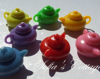 20mm. 8CT. Alice in Wonderland Inspired, Beauty and the Beast Inspired, I'm a Little Teapot Beads, D41