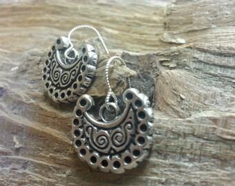 08.194.SV  Silver Earrings- cast Silver,  set of 2.