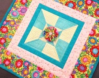 Sunflower Little Quilt - Mini Quilt - Baby Little Quilt