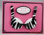 Handcrafted Zebra Bra Bachelorette Card, Invitation