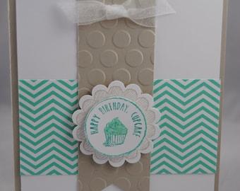 Handcrafted Birthday Cupcake Birthday Card