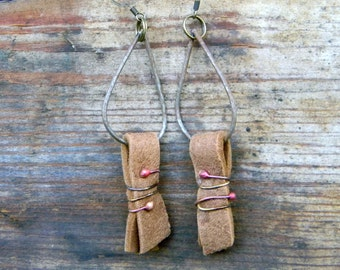 Bohemian Wire Wrapped leather Earrings Christmas Valentine Gift